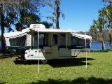 Popup tent camper with air conditioner