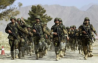 Afghan National Army soldiers marching
