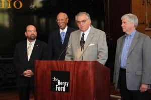Peter Rogoff, Mayor Dave Bing, Sec. Ray LaHood, Gov. Rick Snyder